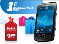 AT&T offering several phones for a penny including the BlackBerry Torch 9860