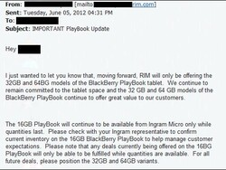 16GB BlackBerry PlayBook being discontinued. Stay calm, 32GB/64GB models still available