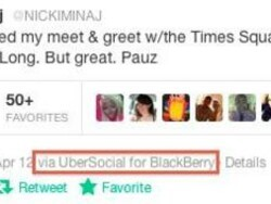 Nicki Minaj tweets from her BlackBerry after performing at the Nokia event in NYC