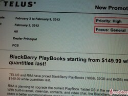 BlackBerry PlayBook dropping to only $149.99 for one week at TELUS