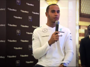 Lewis Hamilton talks BlackBerry at the Dubai Mall