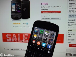 Vodafone UK drop the price of the BlackBerry Q10 on pay monthly plans