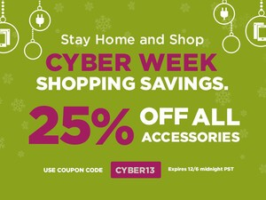 The Cyber WEEK Savings continue at ShopCrackBerry - Save 25% on ALL BlackBerry accessories until  EOD Friday!
