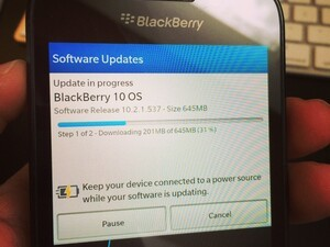 How long did it take you for BlackBerry OS 10.2.1 to download and install?