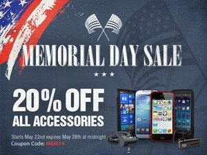 Save 20% through May 28 for Memorial Day Weekend at ShopCrackBerry!