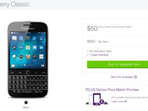 TELUS sales of the BlackBerry Classic go live!