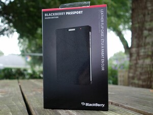 BlackBerry Passport leather flip case is $21.95
