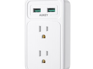 Add two USB ports to any wall outlet with the $8 Aukey power strip