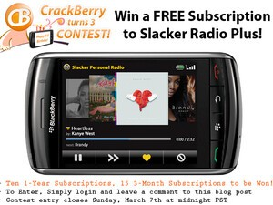 CrackBerry Turns 3 Birthday Contest: FREE Subscriptions to Slacker Radio Plus Up For Grabs!