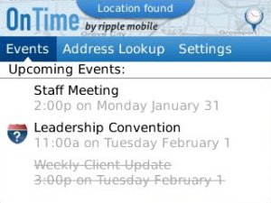 OnTime mobile calendar for BlackBerry now available