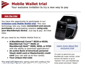 Bank of America testing Mobile Wallet program using NFC-enabled BlackBerry smartphones