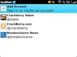 Using multiple accounts in Twitter for BlackBerry