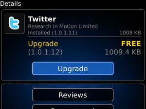 Twitter for BlackBerry updated to version 1.0.1.12