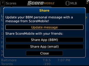 ScoreMobile for BlackBerry updated with BBM integration