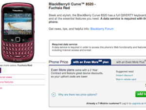 Fuchsia Red BlackBerry Curve 8520 Now Available from T-Mobile Online