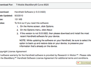 Official OS 5.0.0.822 for the BlackBerry Curve 8520 and 8900 now available from T-Mobile