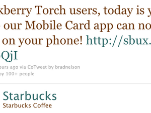 Starbucks Card Mobile now available for the BlackBerry Torch 9800