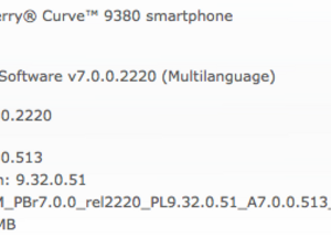 Official OS 7.0.0.513 for the BlackBerry Curve 9380 from Vodafone Qatar