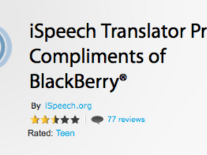 iSpeech Translator Pro available free compliments of BlackBerry