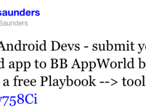 Android Developers: Submit your apps by February 13th and get a free PlayBook!
