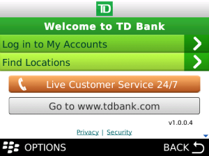 TD Bank Mobile App for BlackBerry now available