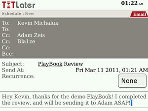 Review: TXTLater for BlackBerry