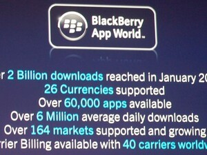 BlackBerry App World Stats: Over 2 billion downloads; 60,000 apps available