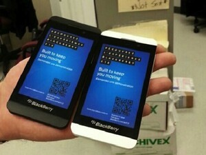 Beautiful pair of BlackBerry Z10 dummy units appear in black and white