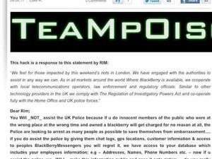 Official BlackBerry Blog hacked - Group responds to official RIM statement on London riots