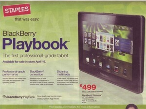 BlackBerry PlayBook hits Staples weekly ad - Still available April 19th
