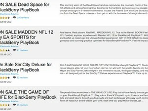 Select titles from EA for the BlackBerry PlayBook on sale for a limited time