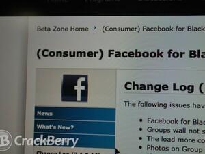 Facebook for BlackBerry smartphones updated to version 3.1.0.16 in the BlackBerry Beta Zone