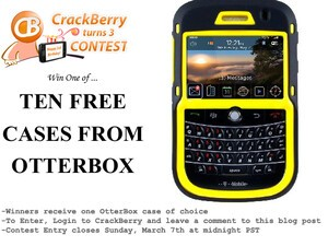 Final CrackBerry Turns 3 Birthday Contest: Win One of Ten Cases from OtterBox!