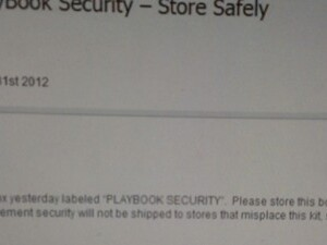 Rogers receiving some cryptic shipments labeled 'PlayBook Security'