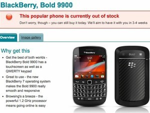 BlackBerry Bold 9900 sold out at Vodafone UK