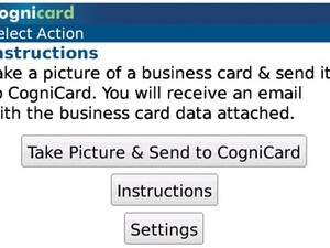 CogniCard scans and emails business cards to your BlackBerry