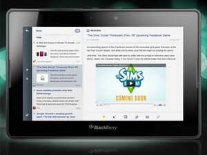 Popular RSS reader Web Reader makes its way to the BlackBerry PlayBook