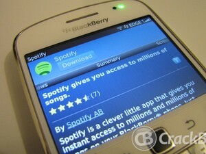 Spotify for BlackBerry smartphones crops up in App World