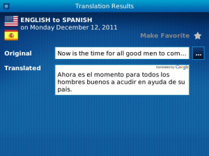 Communilator for BlackBerry - Advanced language translation application