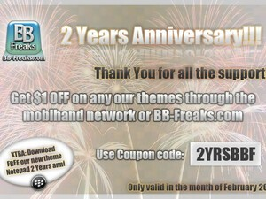 BB-Freaks celebrate their 2 year anniversary with a free theme and discount!