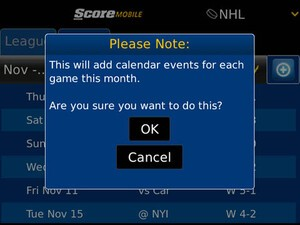 ScoreMobile for BlackBerry updated to v1.8.5 - adds OS 7 support and calendar integration