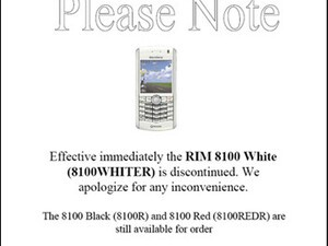 Rogers Discontinues White BlackBerry 8100 Pearl