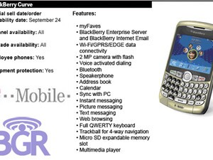 T-Mobile BlackBerry News: BlackBerry Curve 8320 to be Released on September 24th; OS Update Available for 8700g