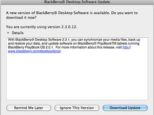 BlackBerry Desktop Manager for Mac updated to version 2.3.1