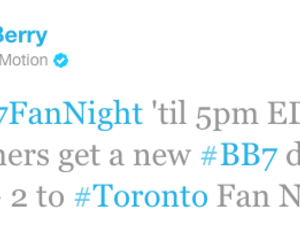 Tweet To Win: A new BlackBerry 7 device and a trip to Toronto for you and two friends!