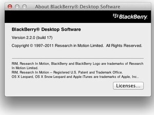 BlackBerry Desktop Software For Mac v2.2.0.17 now available for download