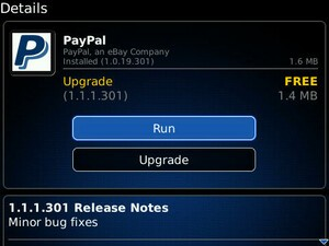 PayPal for BlackBerry updated - Minor bug fixes included