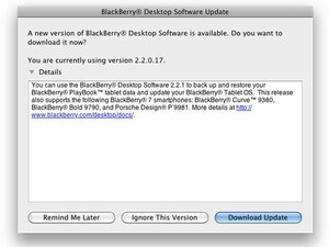 BlackBerry Desktop Software for Mac updated to v2.2.0.1 Bundle 7