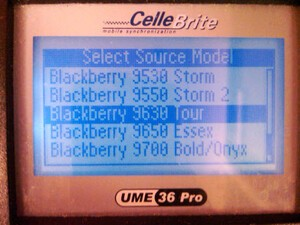 BlackBerry Tour2 9650 Appears In CelleBrite System