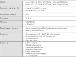 BlackBerry Torch 2 jennings spec sheet leaked